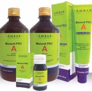 Monovit Pro A Crescimento Capilar(shampoo+Máscara+Ampola + Pomada ) 4 Itens Âmbar Profissional